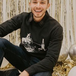 Lucky Brand Lasso Sueded Crew Sweatshirt